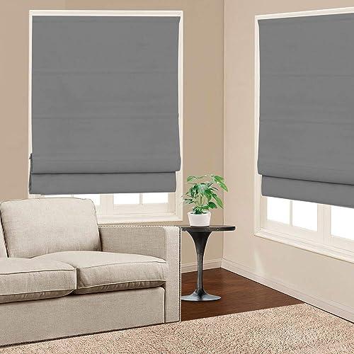 Roman Shades Window Blinds, Dark Grey Premium Blackout Window Roman Shades, Custom Washable Fabric Solid Roman Shades for Windows, Doors, French Doors, Kitchen Windows