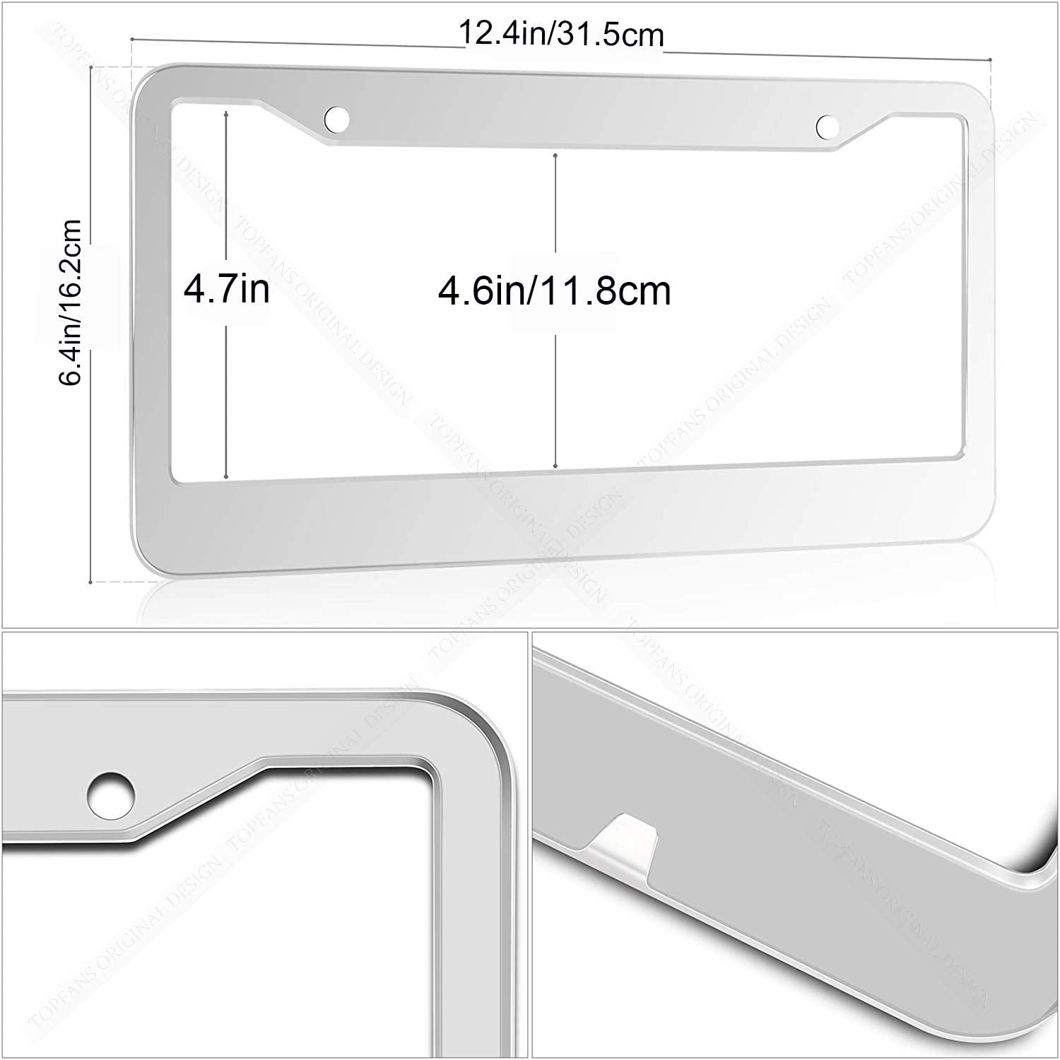 Rattle-Proof Chrome 2 Pack Bling Stainless Steel Polish Mirror Silver Colts License Plate Frames,Universal US Auto Colts Car Licenses Plate Covers Holders,Rust-Proof Weather-Proof