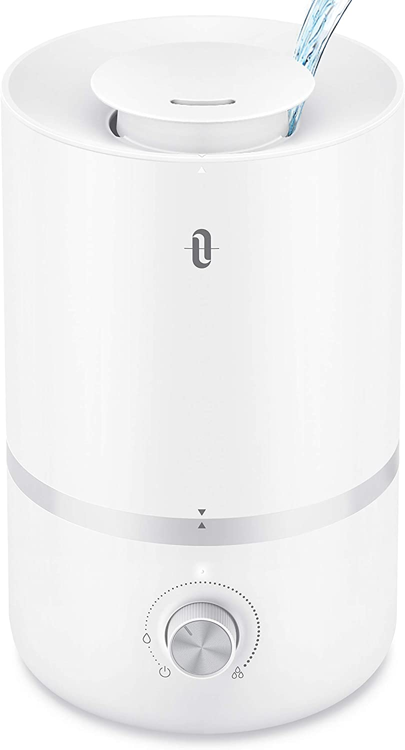 TaoTronics Humidifiers, Top Fill Humidifiers, 3L Cool Mist Humidifier Adjustable Mist Output, Quiet Operation, Dial Knob Control, for Large Bedroom/Living Room/Office