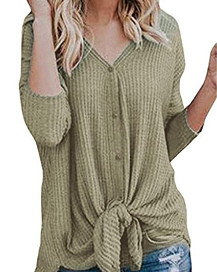d3624a5d68614 YYsunshine Womens Sweater Long Sleeve Button Down Knit Knot Front Pullouver  Top (Small