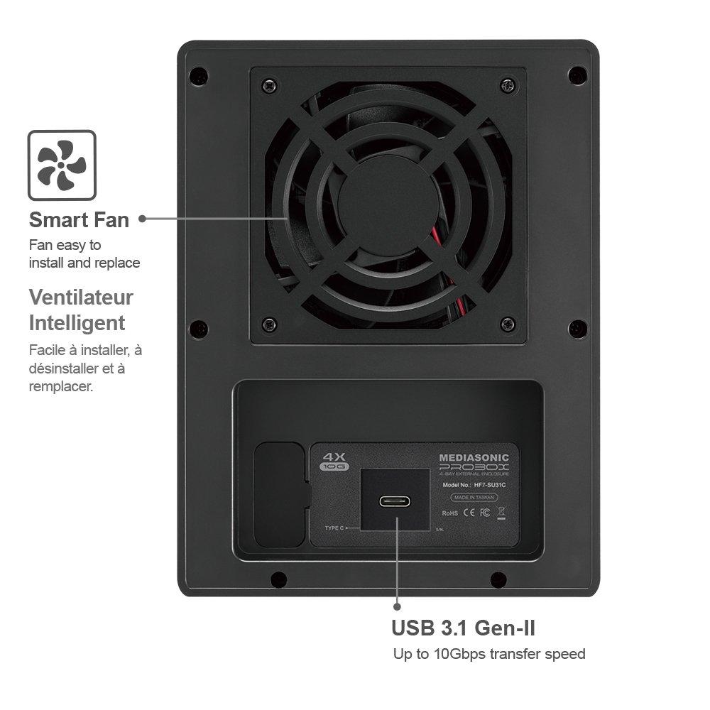 "Mediasonic USB 3.1 4 Bay 3.5"" SATA Hard Drive Enclosure – USB 3.1 Gen 2 10Gbps Type C / USB-C (HF7-SU31C) – Certified Refurbished by Mediasonic (Image #3)"