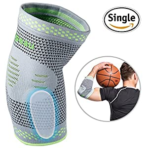 Elbow Brace Compression Sleeve with Gel Pads Support for Tendonitis, Tennis Elbow & Golf Elbow Treatment, Arthritis, Reduce Joint Pain During ANY Activity for Women & Men by Velpeau (Small)