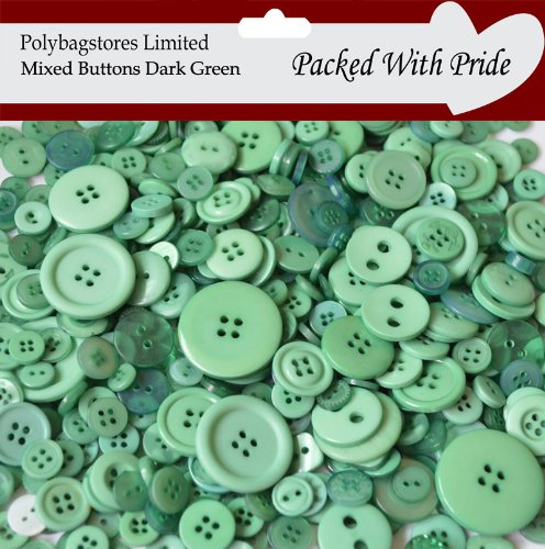 100g **DARK GREEN** SEWING BUTTONS / ASSORTED SIZES / ARTS CRAFTS / SCRAPBOOK / CARD MAKING POLYBAGSTORES