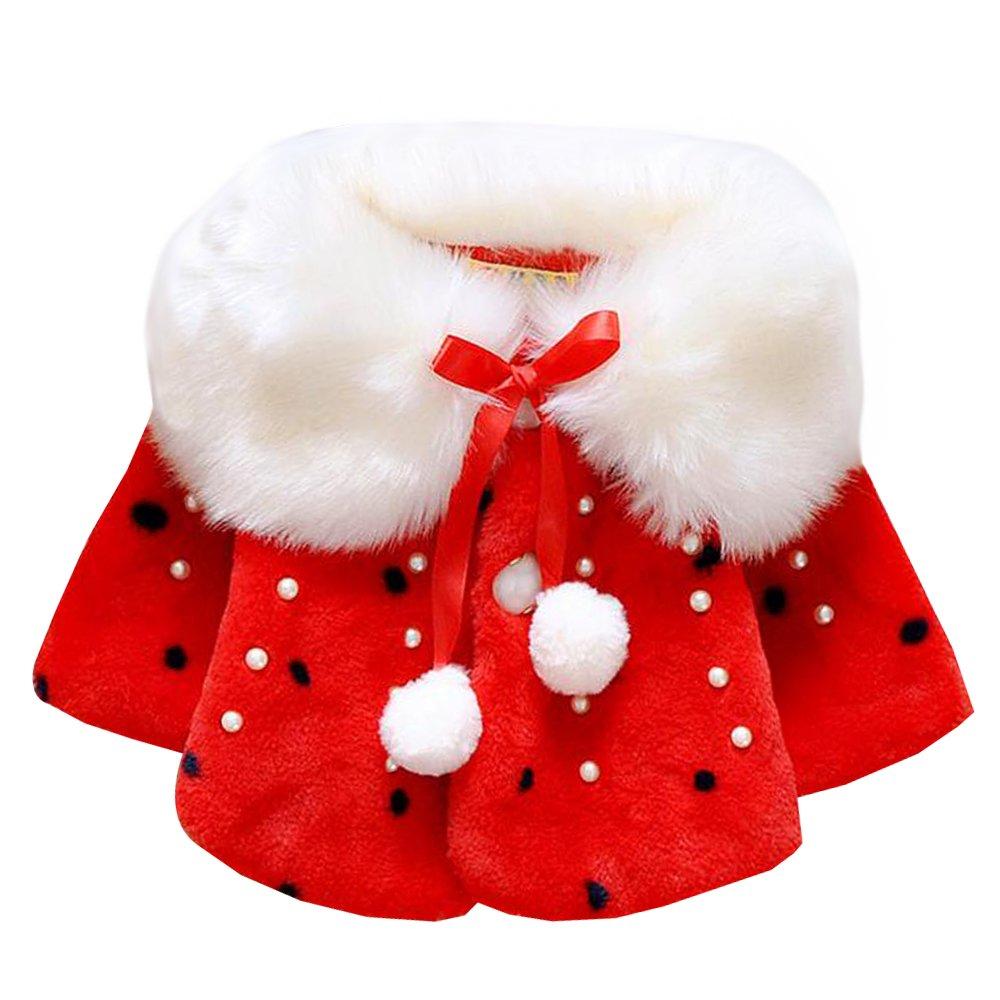 KINDOYO Baby Newborn Baby Girls Warm Faux Fur Winter Coat White/ Red/ Pink