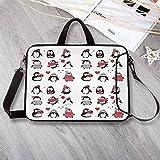Winter Custom Neoprene Laptop Bag,Cute Penguins Hand Drawn Style Set Merry Christmas Greetings