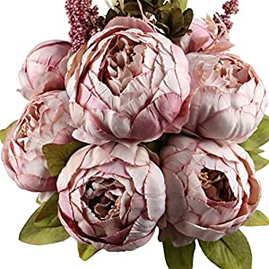 Leagel Fake Flowers Vintage Artificial Peony Silk Flowers Bouquet Wedding Home Decoration, Pack of 1 (Sweetened Bean) 66