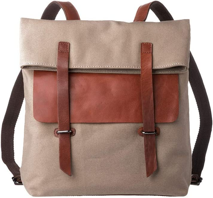 DUDU Backpack Rucksack Daypack Casual for Men Women in Canvas Genuine Leather Urban College Travel School Bags Buff