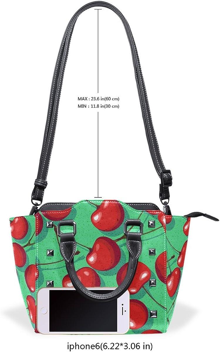 imobaby Red Cherries PU Leather Top-Handle Handbags Single-Shoulder Tote Crossbody Bag Messenger Bags For Women