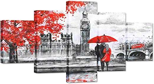BIG BEN RED PHONE BOX UMBRELLA COUPLE LONDON PRINT ON FRAMED CANVAS WALL ART