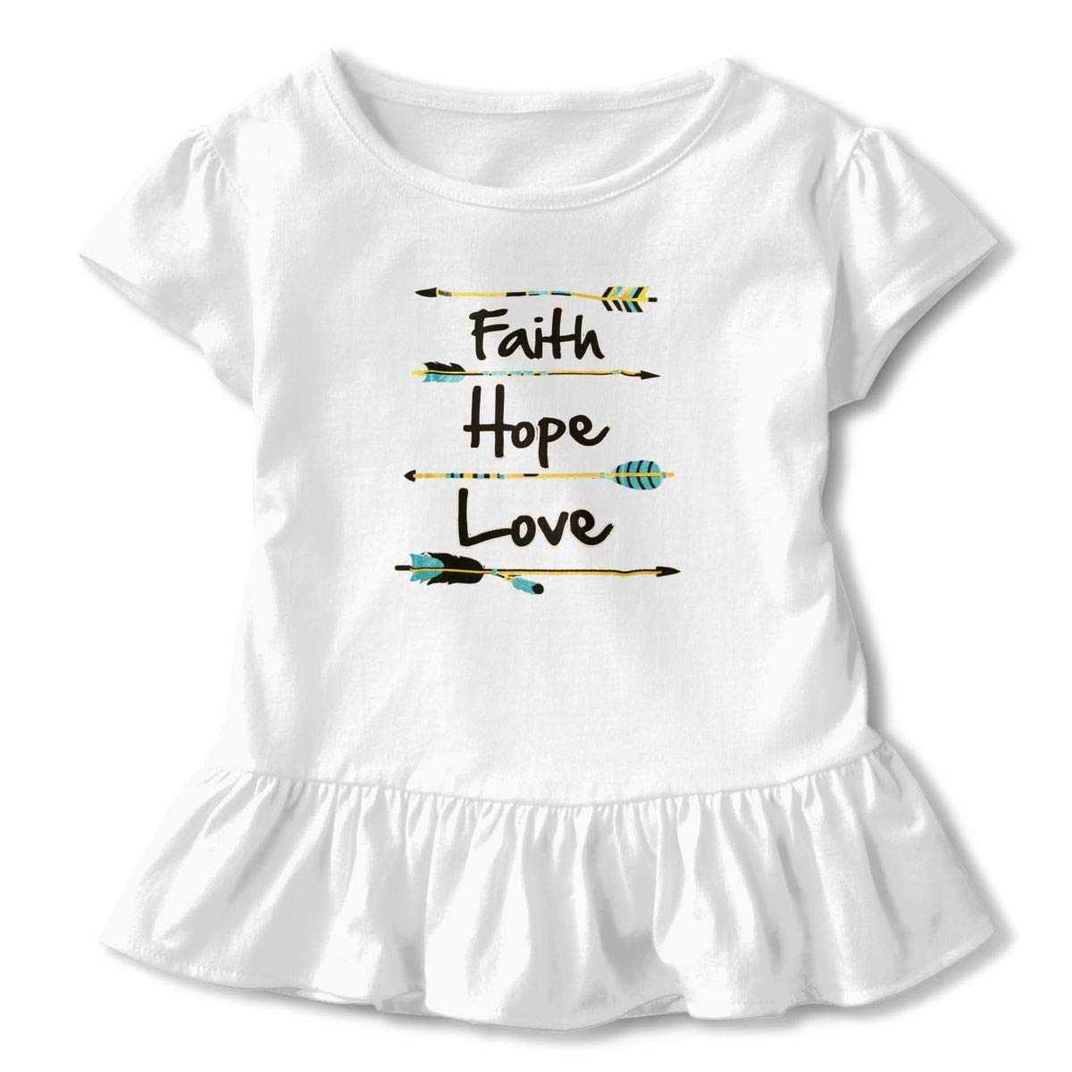 Cute and Glittery Faith Hope Love Toddler Baby Girls Short Sleeve Ruffle T-Shirt
