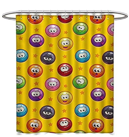 Emoji Shower Curtains Fabric Smiley Surprised Grumpy Sad Happy Mood Faces Background With Little Stars Art