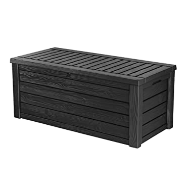 Keter Westwood 150 Gallon Resin Outdoor Storage Deck Box for Patio Garden Furniture, Grey