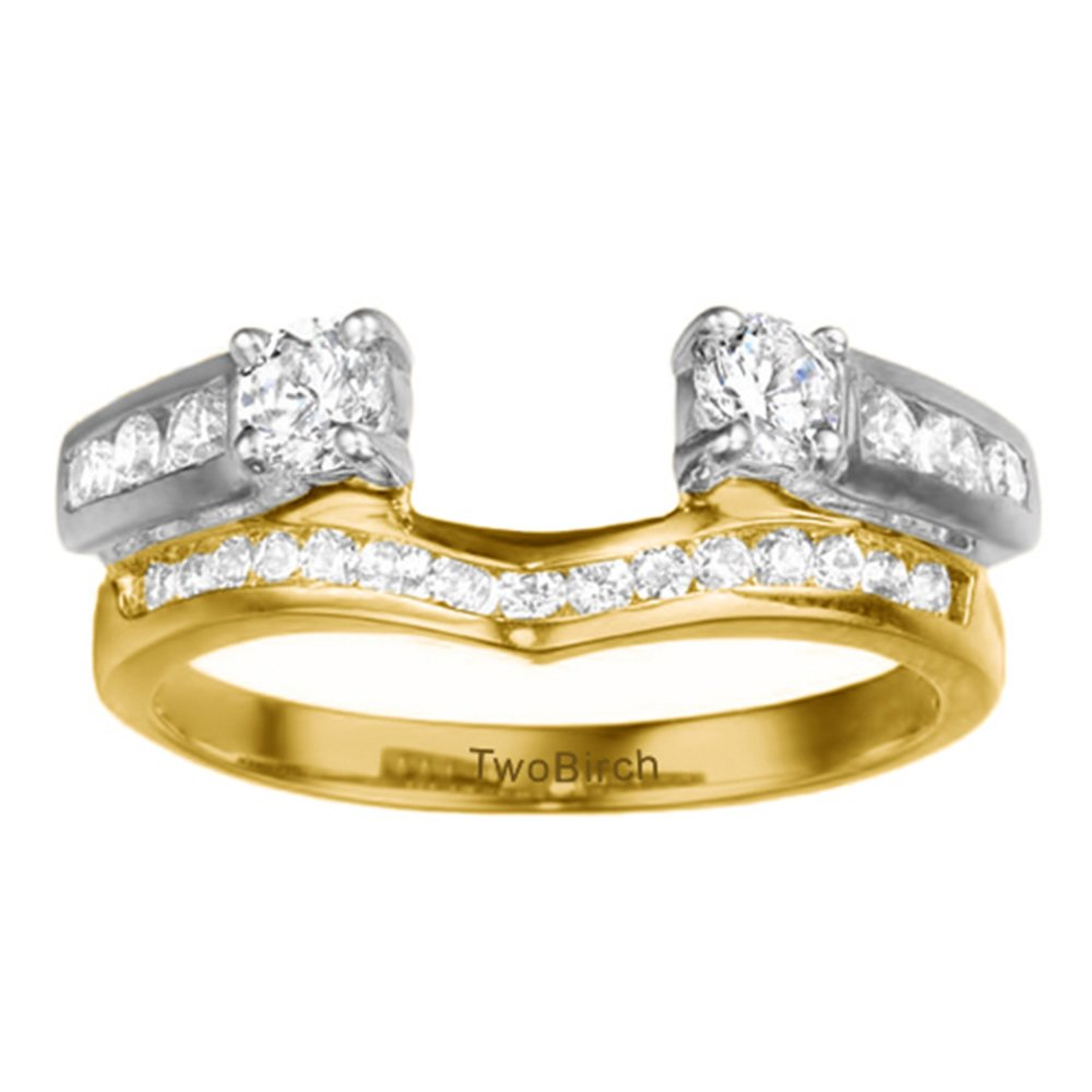 Diamond Cathedral Style Ring Wrap Jacket in Silver GH I2I3(0.75Ct)Size 3 To 15 in 1/4 Size Interval