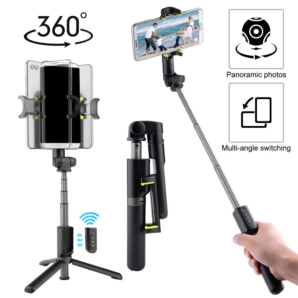 Panoramic Photos Selfie Stick Tripod, 360 Degree Automatic Rotation for Panoramic Photos, 33ft Wireless Remote Control Selfie Stick with Tripod Stand Compatible with iPhone and Most Android Phones by Outcoo