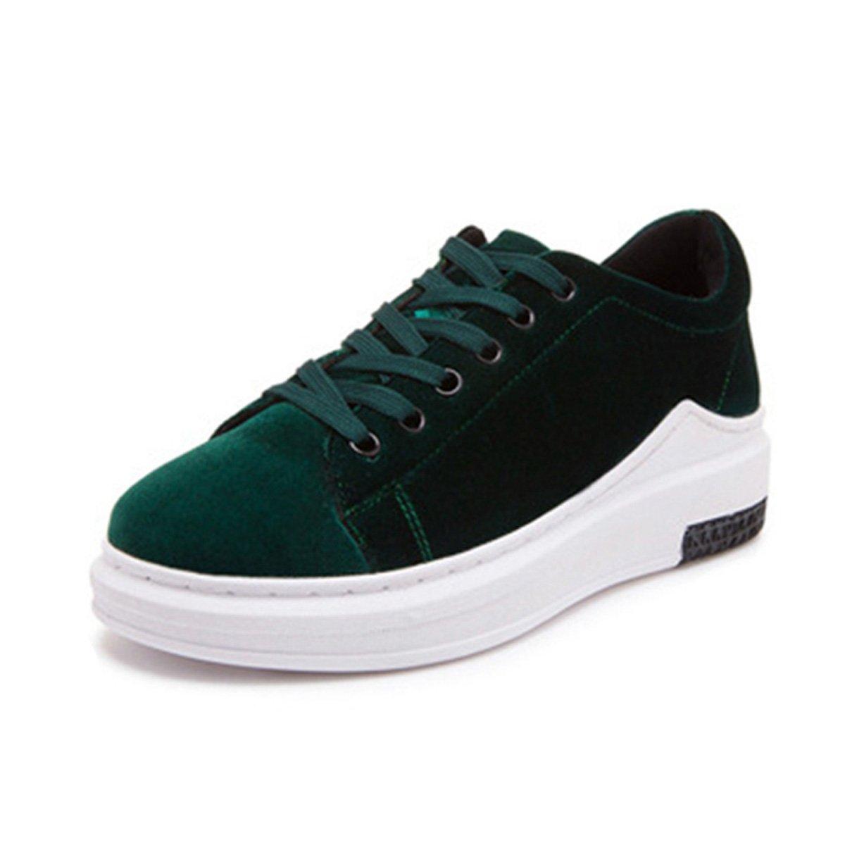 Basket mode femme chaussure loisir plate-forme sneakers sneakers compensé casuel mode chaussure sportif velours printemps Vert c010774 - epictionpvp.space