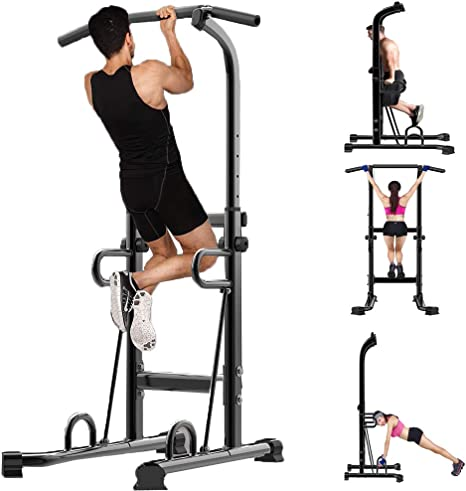Pull Up Dip Station /&S tand Power Tower Chin Up Bar Fitness Exercise Workout Gym