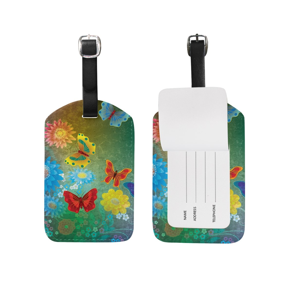 Art Butterfly Leather Cruise Travel USA Luggage Tags Card Bag ID Label (2Pcs)