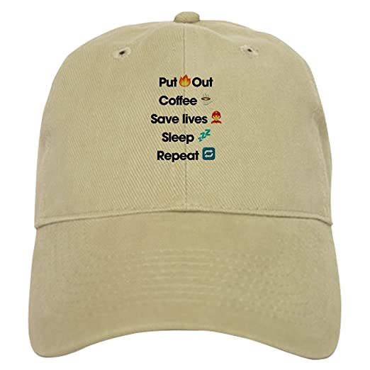 dc621723 CafePress Emoji Firefighter Repeat Baseball Cap with Adjustable Closure,  Unique Printed Baseball Hat Khaki
