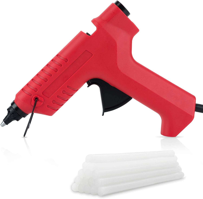 FL Hot Glue Gun, 80W High Temperature Hot Melt Glue Gun Kit with 15 pcs Glue Sticks, Packaging, DIY, Arts & Craft, Repairing and More, Red (FQ-188A)