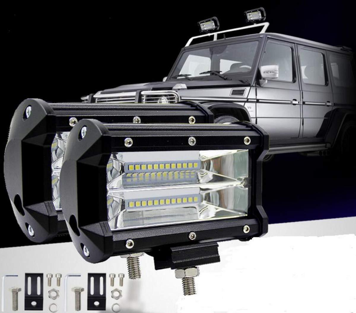 Zhiteyou (2 Stü ck) 5Inch 72W Zwei Reihen LED Light Bar Modifiziert Off-Road-Leuchten Dach Leuchte Bar