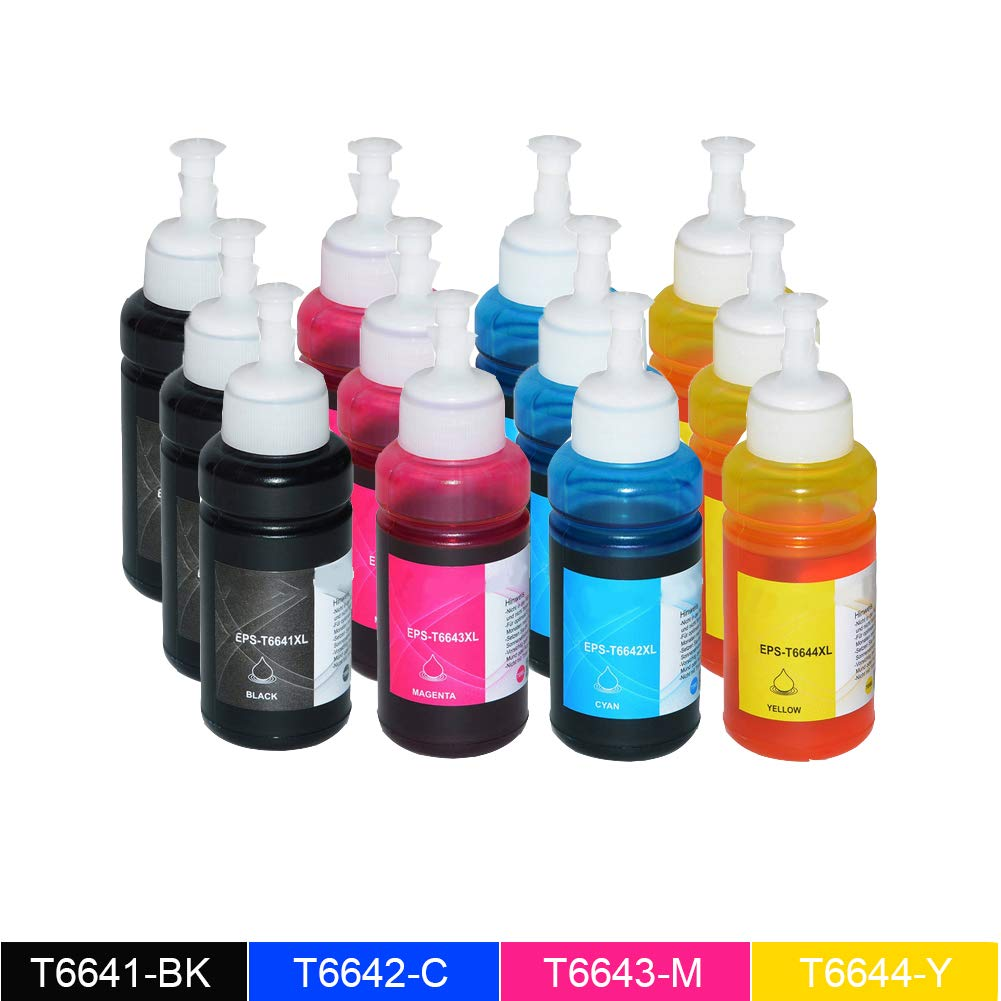 12 PAK WonderTec Replacement T6641 Black Ink para ET-14000 ET-2500 ...