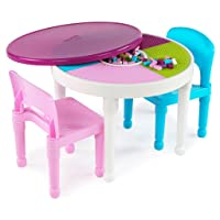 Deals on Tot Tutors Kids 2-in-1 Plastic LEGO Table and 2 Chairs Set