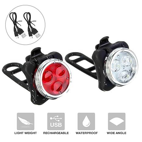 Luz para Bicicleta, SGODDE 3 LED 4 Modos Impermeable Contiene una ...