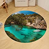 Gzhihine Custom round floor mat Small Yacht Floating in Azure Sea in the Village Cala Pi Majorca Spain