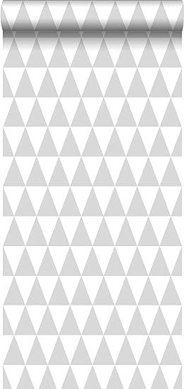 Papier Peint Intissé Impression à La Craie Triangle Géométrique Graphique  Gris Chaud Clair Et Blanc Mat