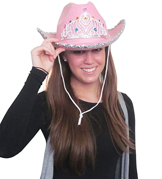 7747db27a0427 Amazon.com  Sequin Cowgirl Hat with Tiara  Clothing
