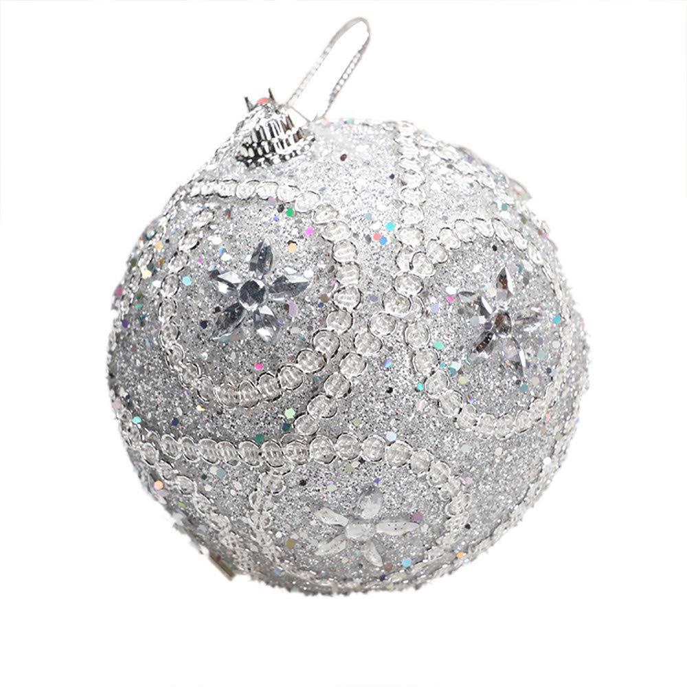 Livoty Christmas Ball Ornament Rhinestone Glitter Baubles Balls Xmas Tree Decoration Christmas Decorations Tree Balls (B - Silver)
