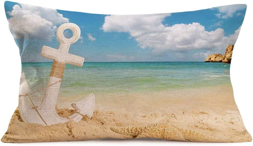 Doitely Summer Beach Style Throw Pillow Covers Sandy Beach Anchor Starfish Pattern Pillow Cases Cotton Linen Cushion Cover for Home Sofa Couch Decorative Rectangular 12x20 Inches