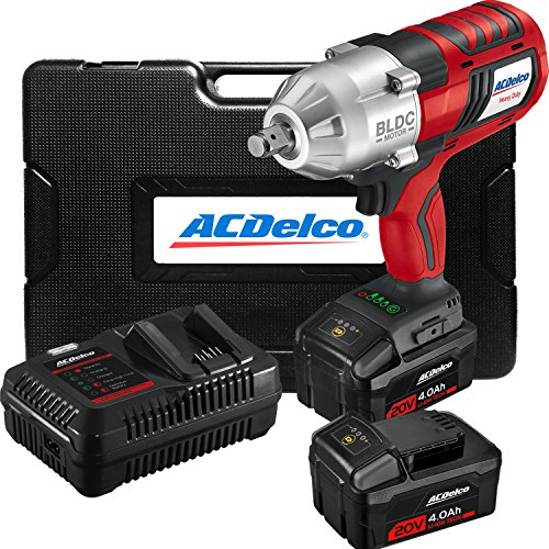 "ACDelco ARI2002 20V Brushless Cordless High Torque Li-ion 1/2"" Jumbo Impact Wrench with Friction Ring Anvil Kit, 2 Batteries, Fast charger, and Carrying Case"