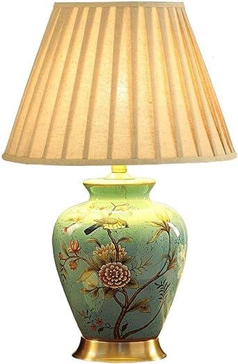 Cerámica azul lámpara de mesa, lámpara de cabecera Clásica ...