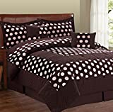 Serenta Big Dots Collection Coffee Bean Silver Pink Microfiber Comforter Set 6 Pieces Bed in a Bag Set (Queen)