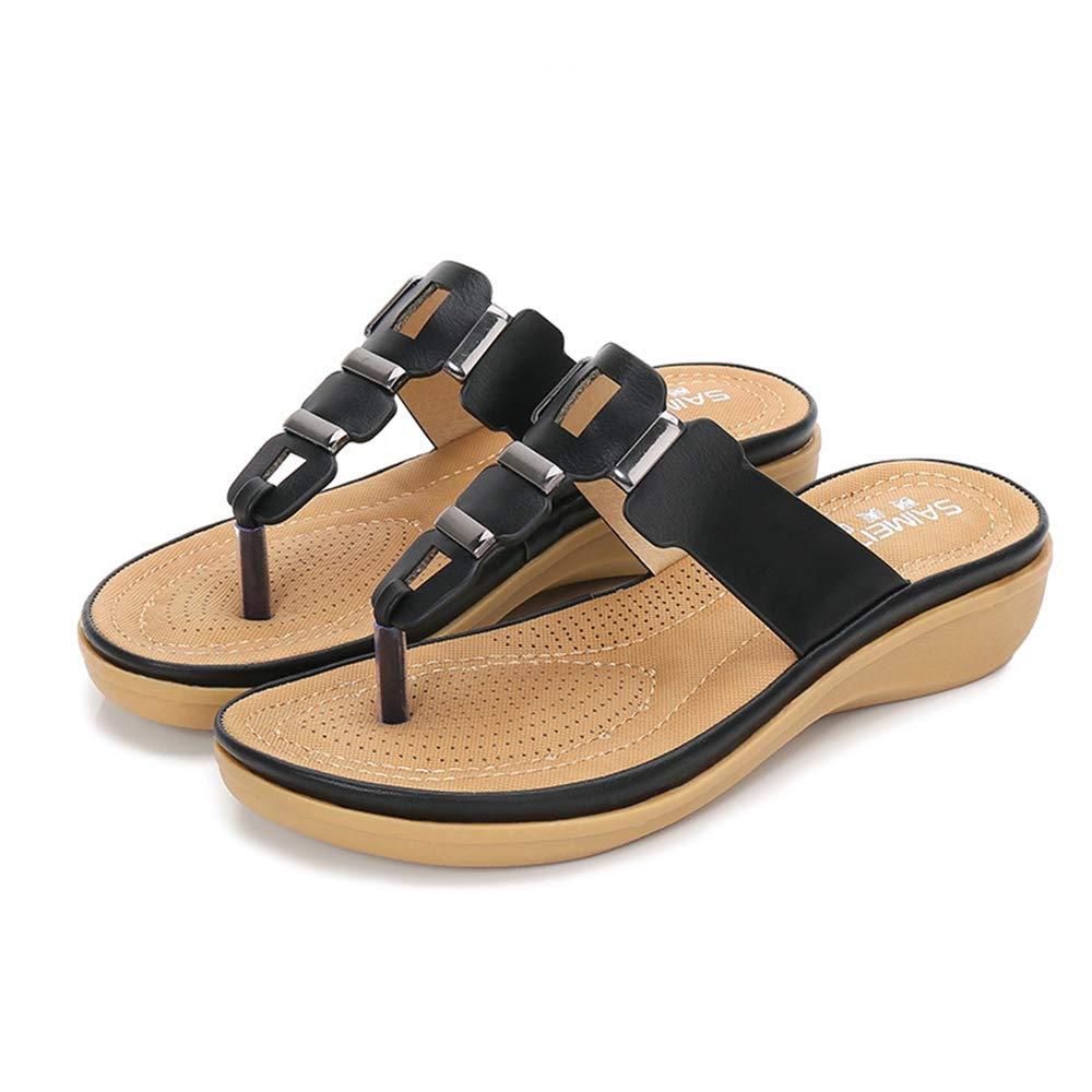 Black Women's Sandals Flip-Flops, Summer shoes, Large Size Wedges, Platform Clip Toe Sandals,Suitable for Home, Beach, Daily Wear, Leisure, Vacation, Travel, Casual
