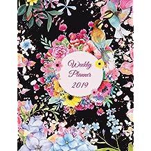 """Weekly Planner 2019: Premium Black Flowers, Weekly Calendar Book 2019, Weekly/Monthly/Yearly Calendar Journal, Large 8.5"""" x 11"""" 365 Daily journal Planner, 12 Months Calendar, schedule planner, Agenda Planner, Calendar Schedule Organizer"""