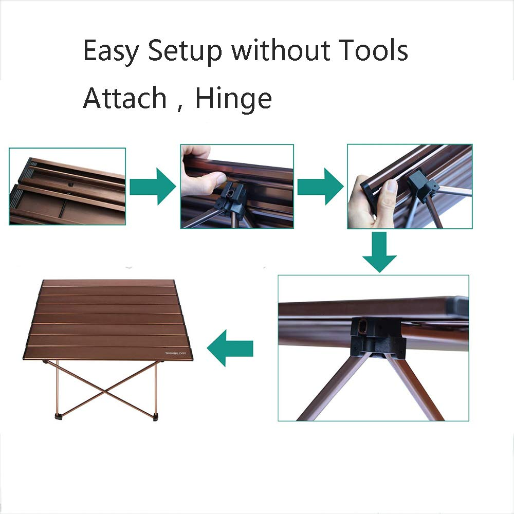 Portable Camping Table, Aluminum Table Topanti-Corrosion Rust Prevention Non-Slip Folding Table Picnic Camp Beach Easy Clean,2 by Cxmm (Image #5)