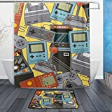 My Daily Classic Videogames Pattern Shower Curtain 60 x 72 inch with Bath Mat Rug & Hooks, Mildew Resistant & Waterproof Polyester Decoration Bathroom Curtain Set