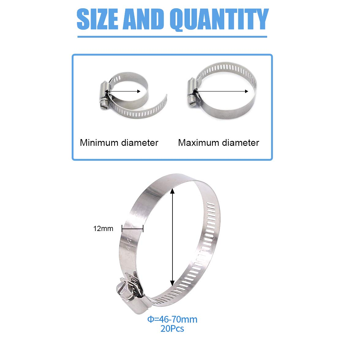 Fuel Line Clamp for Water Pipe 27-51MM Glarks 20Pcs 304 Stainless Steel Adjustable 27-51MM Range Worm Gear Hose Clamps Assortment Kit Plumbing Automotive and Mechanical Application