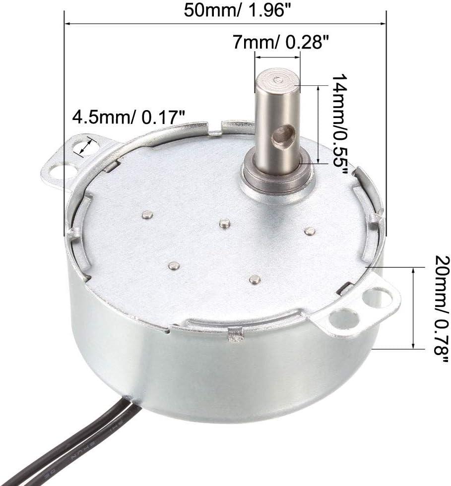 sourcing map Metal Engranaje El/éctrico Sincr/ónico Motor AC 220-240V 50-60Hz 4W 0.8-1RPM CCW