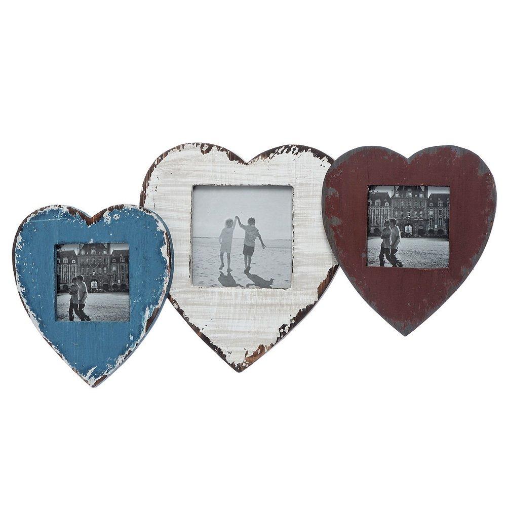 Bilderrahmen 3-fach Herz aus Holz Vintage: Amazon.de: Küche & Haushalt