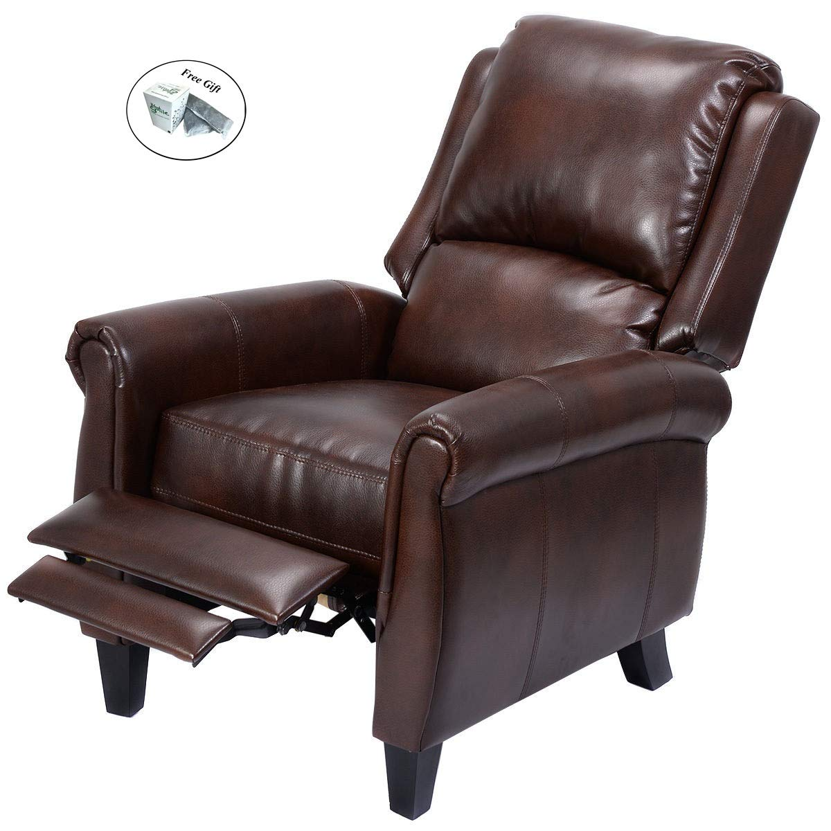 Amazon com eight24hours leather recliner accent chair push back living room home furniture w leg rests kitchen dining