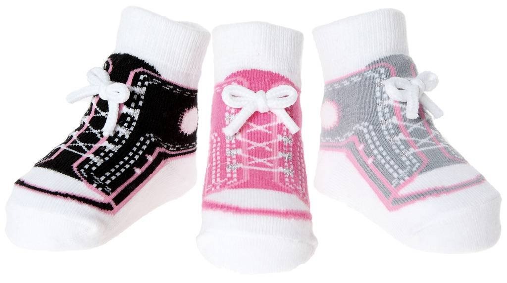 Baby Girls Socks with Shoe Design - Anti Slip Soles - Cotton - 3 Pairs - Newborn Present