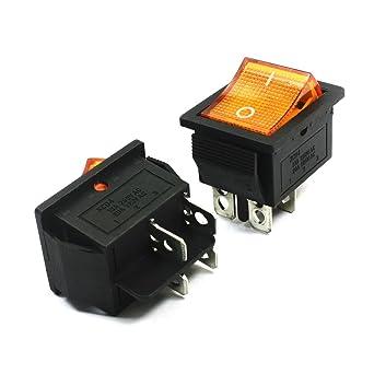2pcs DPST de encendido / apagado de 4 pines de soldadura Terminales amarillo del botón interruptor