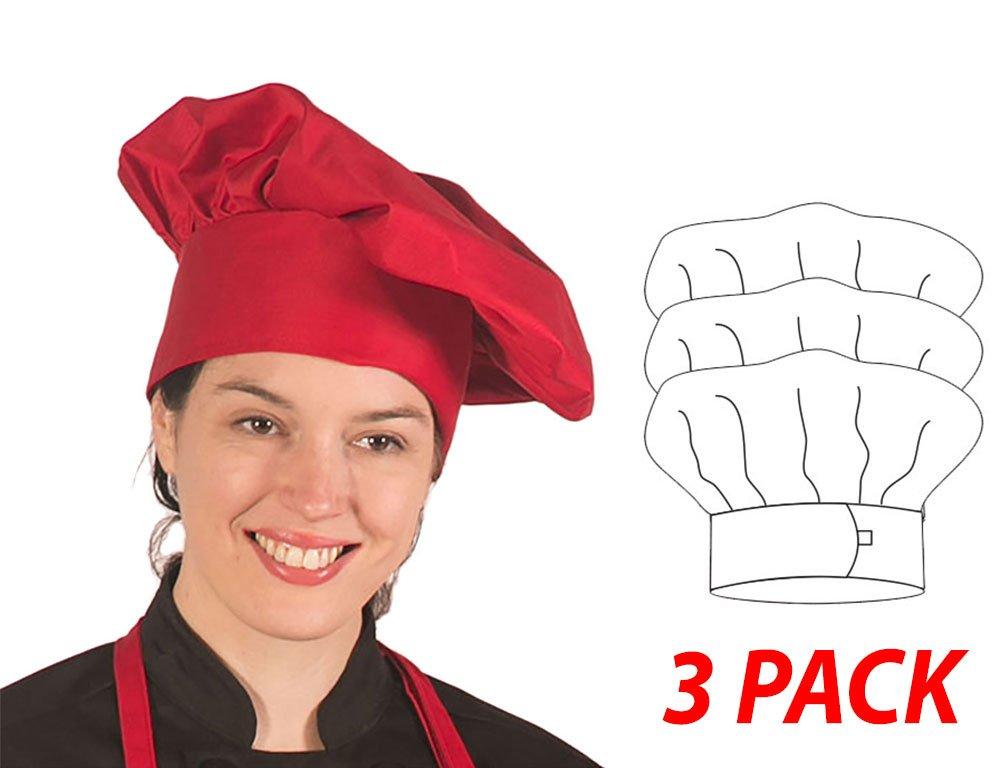 Hilite Uniform Item: 110RD, Adjustable Velcro Closure Classic Chef Hat, 3'' Headband, 13'' Tall - 3 Pack, Red