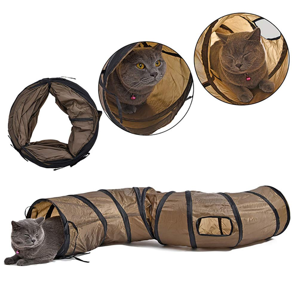 Cat Tunnel with Large Foldable Cat Toy, 2 Ways and 2 Caves for Small and Medium Cats, Kittens, Rabbits Brown