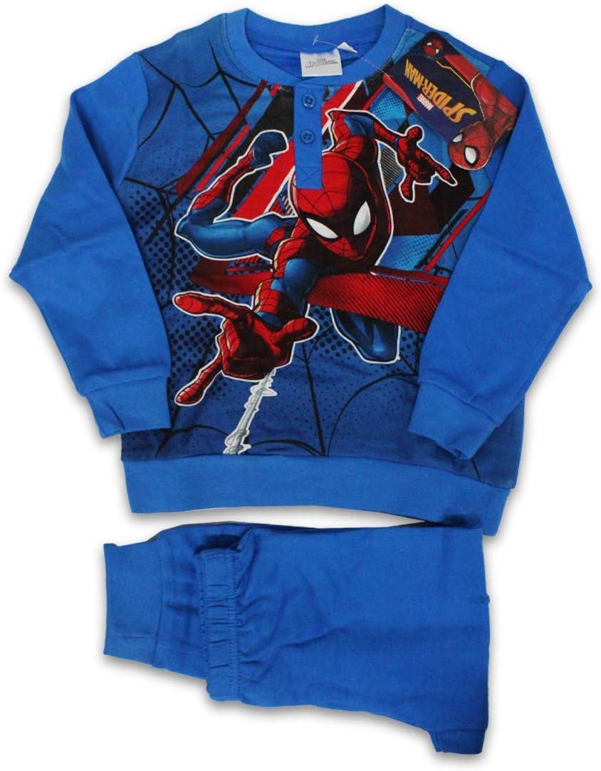 Russo Tessuti Pigiama Lungo Tuta Baby Bambino Spiderman Caldo Cotone Vari Colori-Blu-3 Anni