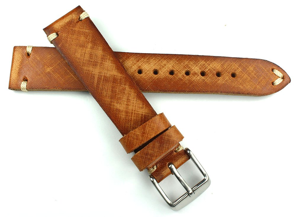 18 mm vintage klockarmband gjord av sadelläder; shabby, shick, unik, handborstad och handgjord i Tyskland Ljusbrunt