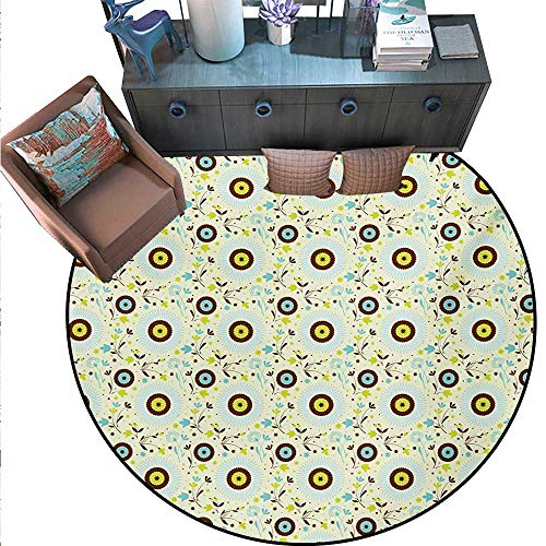 Flower Non-Slip Round Rugs Artistic Botanical Composition Abstract Gardening Plants Leaves Living Dinning Room Bedroom Rugs (71